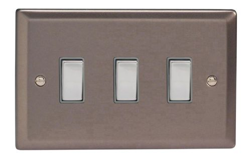 Varilight XR93D Classic Pewter 3 Gang 10A 1 or 2 Way Rocker Light Switch (Twin Plate)